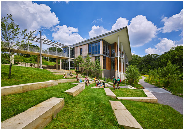 view of amphitheatre at the Frick Park Environmental Center designed by BCJ Architects