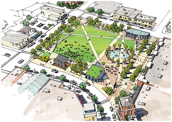birdseye drawing of Glassboro New Jersey - Town Square concept