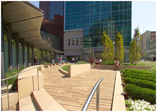 PNC Triangle Park downtown urban plaza in pittsburgh