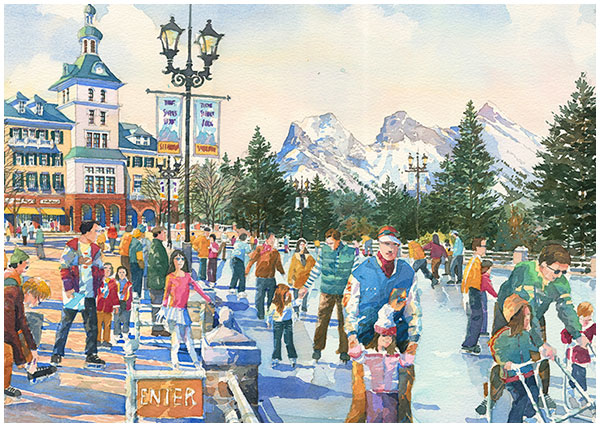 Eye Level perspective of outdoor ice skating at Silvertip Resort