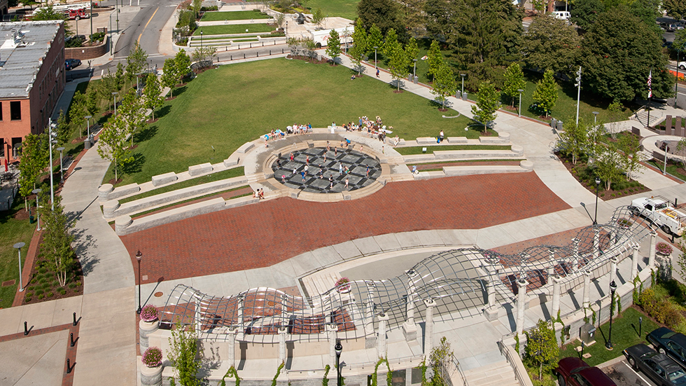 pack square park asheville - aerial view of amphitheatre