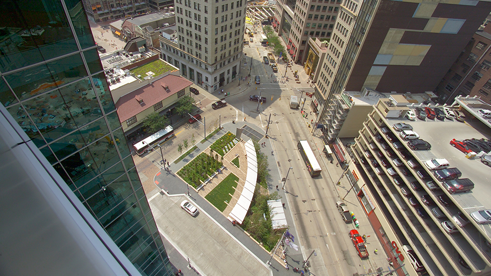 aerial view of triangle park downtown pittsburgh