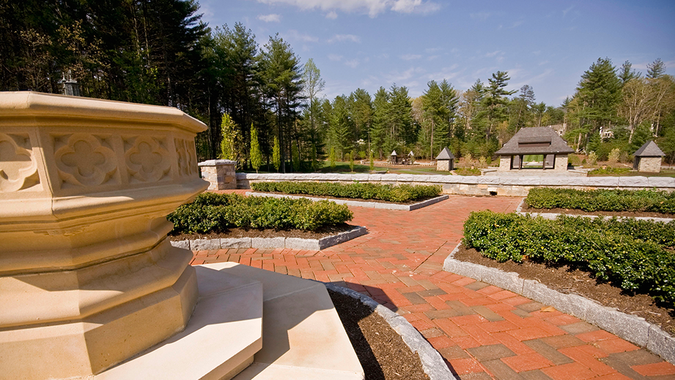 view from formal gardens looking toward pavillion