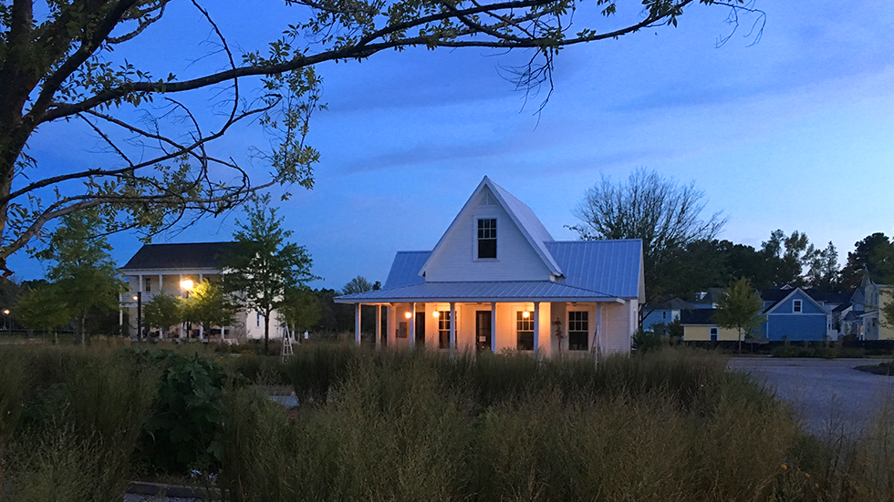 traditional southern architecture building at dusk