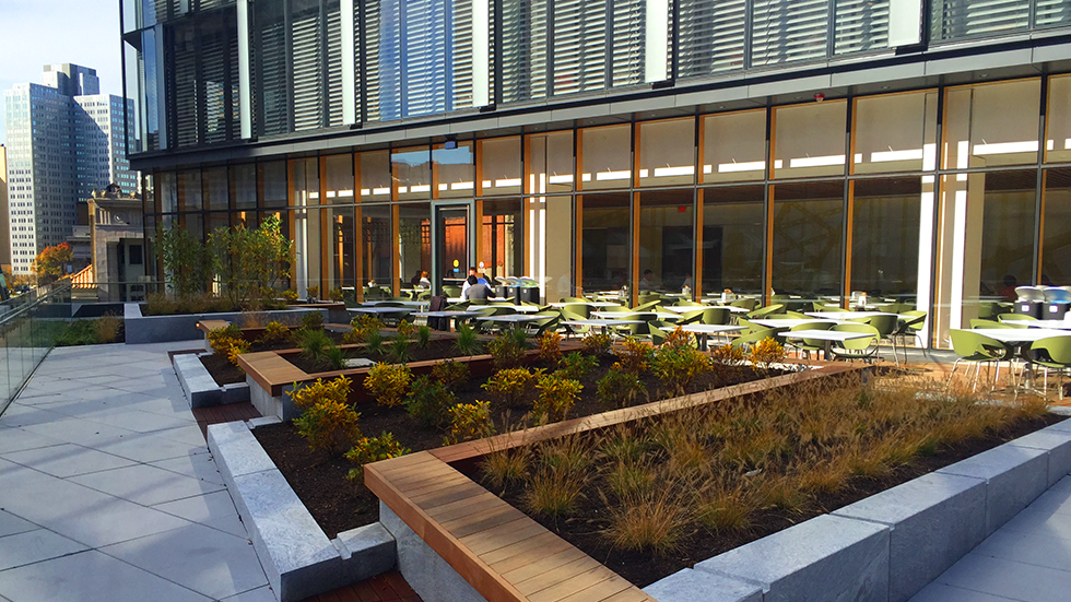 outdoor green roof eating terrace with raised planter at PNC tower pittsburgh